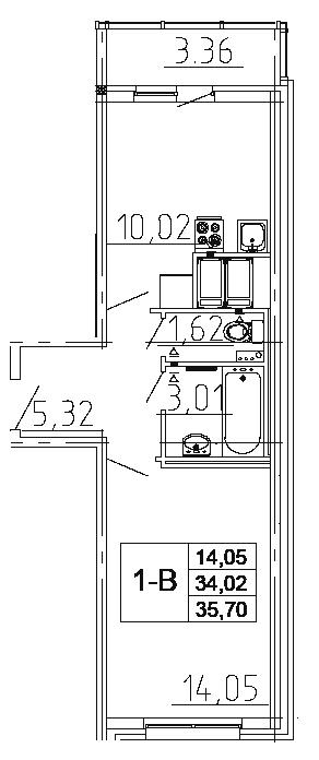Планировка Однокомнатная квартира площадью 35.7 кв.м в ЖК «Десяткино 2.0»