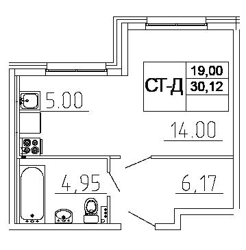Планировка Студия площадью 30.12 кв.м в ЖК «Десяткино 2.0»