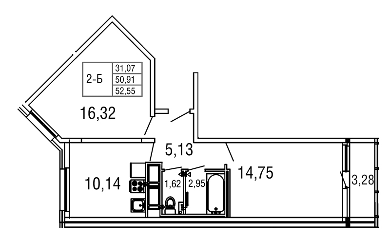 Планировка Двухкомнатная квартира площадью 52.55 кв.м в ЖК «Десяткино 2.0»