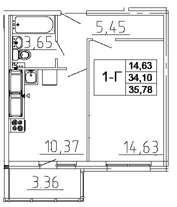 Планировка Однокомнатная квартира площадью 35.78 кв.м в ЖК «Десяткино 2.0»
