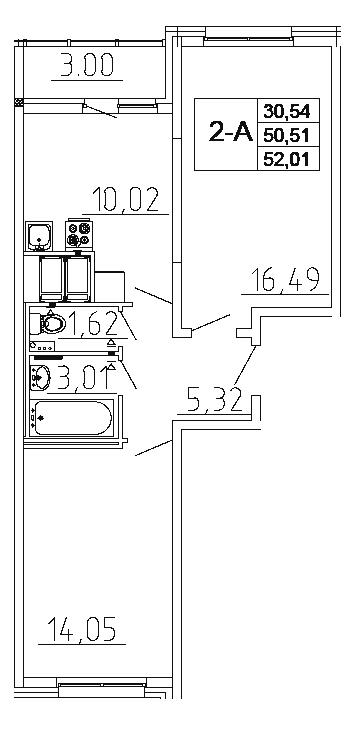 Планировка Двухкомнатная квартира площадью 52.01 кв.м в ЖК «Десяткино 2.0»