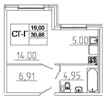 Планировка Студия площадью 30.86 кв.м в ЖК «Десяткино 2.0»